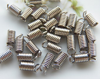 8X4mm Antique Silver Plated Coil End Crimp Fasteners, 24 PC (INDO276)