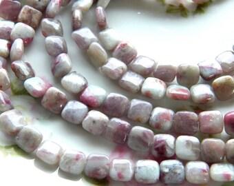 10mm Natural Chinese Tourmaline Semi-Precious Puffy Square Beads, Half Strand (INDOC895)
