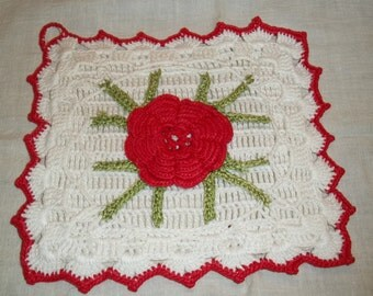 On Sale-Gorgeous Unused Pot Holder Potholder with Red Rose Center, Sage Green Leaves on a White Background and Red Trim