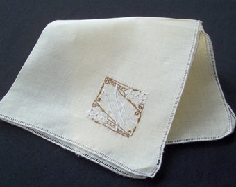 Unused Light Yellow Butterscotch Madeira Handkerchief  Hankie Hanky Monogrammed with Letter /Initial M  Flowers and Seed Embroidery
