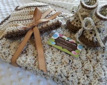 Crochet Baby Blanket, Beanie Hat and Booties Gift Set, Aran Fleck, Nutmeg and Tan