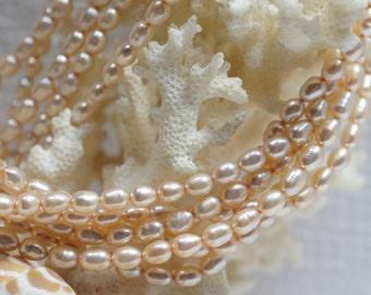 Champagne Freshwater Rice Pearl 4.5 mm Full Strand 16 inch Birthstone July