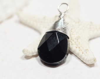 Facet Black Briolette 22X10 mm  Wire Wrapped Pendant