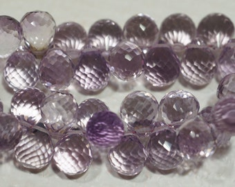 Pink Topaz Micro Facet Briolette 9.5X8 mm Luxe AAA set off 2 pcs
