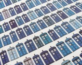 Police box Fabric Fat Quarter - Hodgepodge of Blue shades on grid