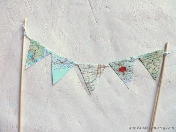 Map Cake Topper Bunting Atlas Paper Pennant Banner