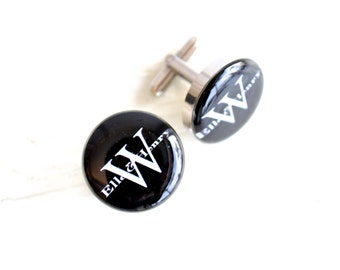 Monogram cufflinks - personalized monogrammed classic font - Classy round cufflink keepsake gift handcrafted in the USA