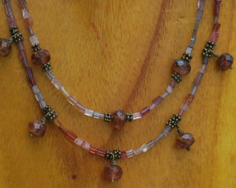 Stunning Spinel and Czech Glass Double Strand Necklace in Shades of Pink and Peach