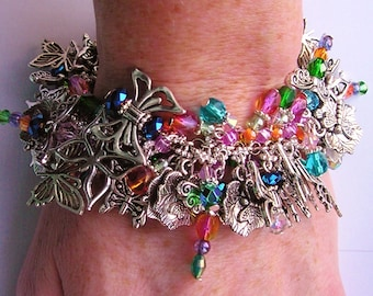 Silver Dragonfly Chunky Charm Bracelet GREEN, BLUE, PINK, Purple, Butterfly Cha Cha Bracelet One Of A Kind Handmade