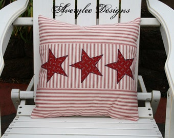 Americana Ticking Pillow Cover, Americana Decor, Stars and Stripes, 4th of July
