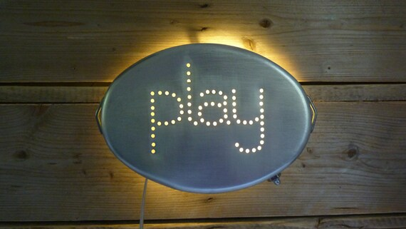 RESERVED For P. PLAY Up cycled Vintage InSight Light made from Italian aluminum pan