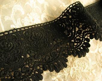Black Cotton Lace Fabric Trim Scalloped Lace Trim Retro Venice Lace Trim