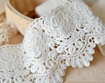 Ivory Cotton Lace Trim, Exquisite Embroidered Lace Trim, Scalloped Floral Lace 2 yards