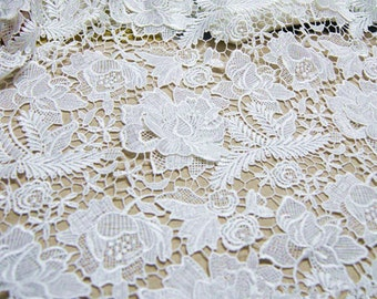 Ivory Wedding Lace Fabric Bridal Lace Fabric Costume Lace Curtain Supplies Vivid Floral
