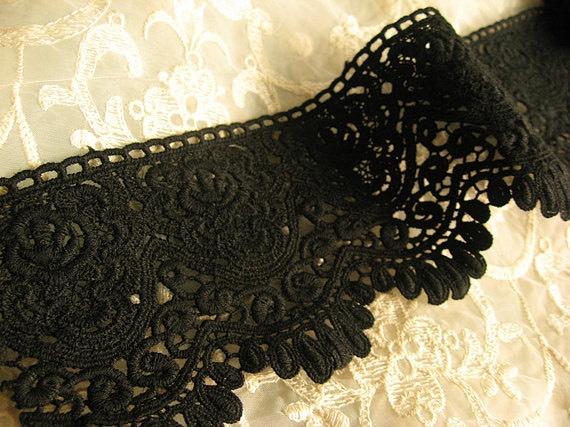 Black Lace Trim Scalloped Black Cotton Lace Fabric Trim