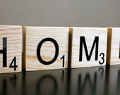 HOME Scrabble Inspired Tiles. Home Decor or Photography Prop. Wood Letters. Letter Decor