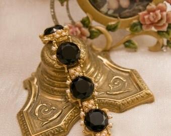 Vintage Crystal & Pearl Bracelet