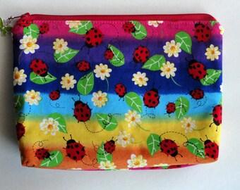 Fabric Gadget Pouch Cosmetic Bag Zipper Pouch Makeup Bag Cotton Zip Pouch Bright Print