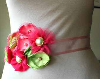 Wedding, Maternity, Pregnancy Photo Prop, Bridal Party, Flower Girl, Sash in Pink and Green Flowers