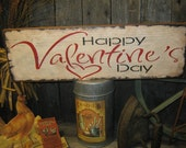 "Primitive Love Sign  "" Happy Valentines Day ""  Wood Wall Decor Holiday Hearts Prim Housewares"