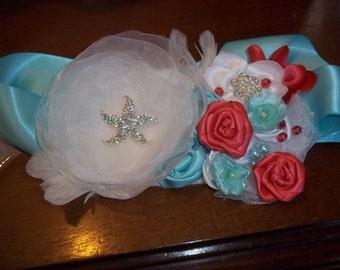 Bridal Sash, Beach Wedding Sash - Coral and Turquoise, Tropical Enchanted Starfish - A Bijoux Bridal Chicago Signature Design