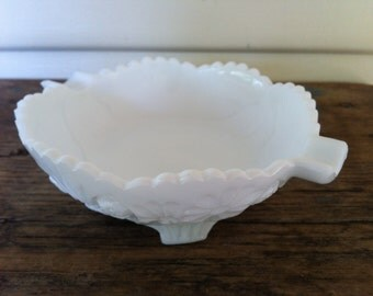 Sweetest Vintage Milk Footed Glass Bowl or Server