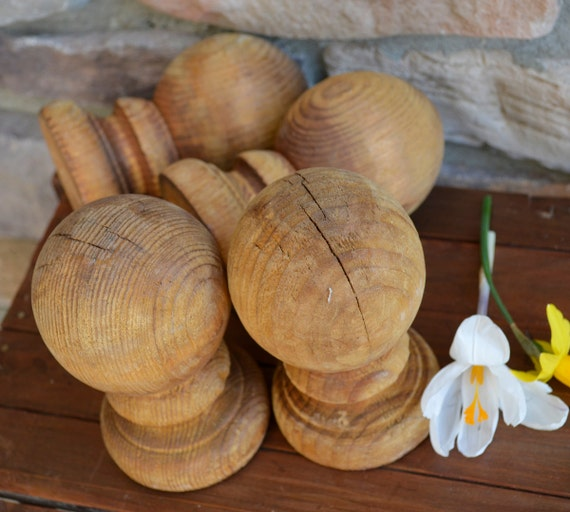 Round Ball Wooden Fence Size Finials Set By
