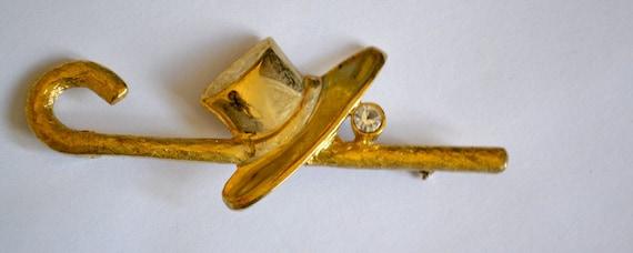 "Vintage ""Jazzy"" Brooch, Gold Tone, Clear Rhinestone, Hat and Cane, OOAK Brooch, Item No.B320"