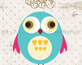 Set of 3 5x7 Sweet Owl Prints (you choose colors)