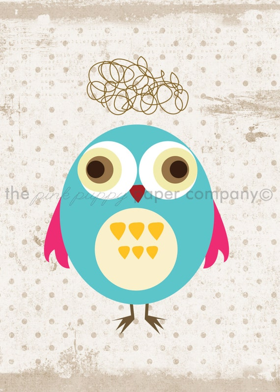 Set of 3 5x7 Sweet Owl Prints (you choose colors)