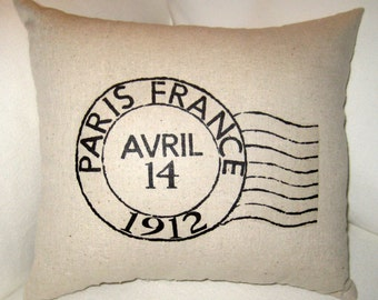 Paris Postage Stamp Pillow, French Home Decor Cushion, Typography, Vintage Ivory Muslin Hand Sewn Decor by FrenchCountryDesigns