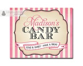 Candy Bar Sign Wedding Bridal Shower Pink Ivory Striped Buffet Food Table Sign Printable 8x10 DIY Digital or Printed - Madison Collection