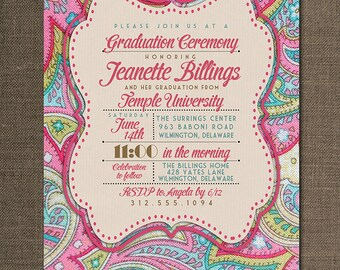Paisley Graduation Invitation Preppy Modern Bright Pink Blue Typography Chic Poster Printable Digital or Printed - Jeanette Style