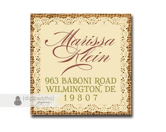"Address Labels Stickers 1.25"" Square Printable Return Address Labels Lace Burlap DIY Digital or Printed - Jackie Collection"