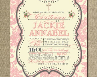 Baptism Invitation Pink Damask Gray Classic Christening Baby Girl Christian Cross FREE PRIORITY SHIPPING or DiY Printable - Jackie