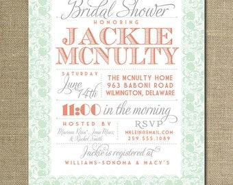 Lace Bridal Shower Invitation Coral Orange Pink Pastel Mint Green Gray Wedding Invite FREE PRIORITY SHIPPING or DiY Printable - Jackie