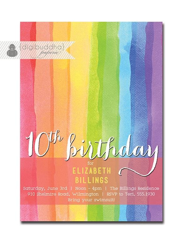 Rainbow Birthday Invitation 10th 9th 8th Milestone Party