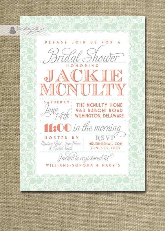 Lace Bridal Shower Invitation Coral Orange Pink Pastel Mint Green Gray ...