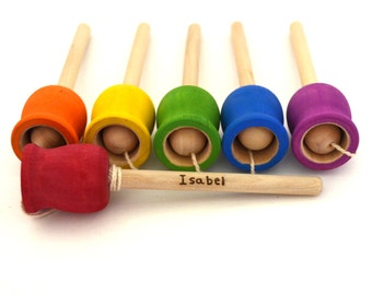 Skill Building Toy - Personalized Cup and Ball Wood Toy - Rainbow Colors - Party Favor - Stocking Stuffer