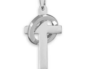 MEN'S or Teen 316L Stainless Steel Cross Pendant with Ring