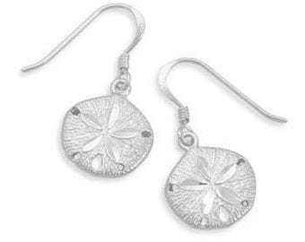 Diamond Cut Nautical Sand Dollar French Wire Earrings - 925 Sterling Silver