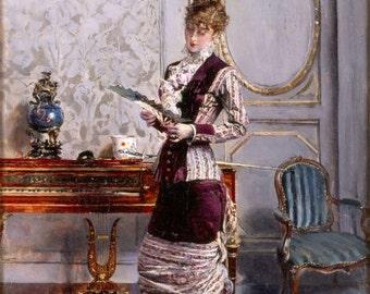 Romantic Home Decor Print of Lady Admiring Fan by Boldini 1878