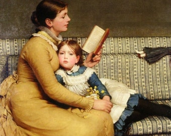 Fine ART PRINT of Woman Reading to Girl, with Doll on Couch by Leslie