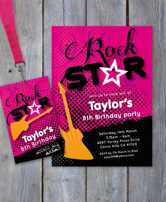 rock star party printable invitation backstage pass print your own by sweet scarlet designs. Black Bedroom Furniture Sets. Home Design Ideas