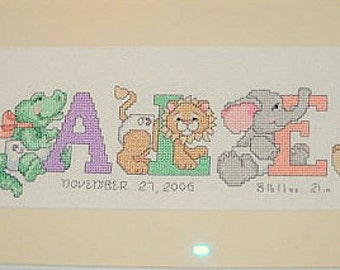 Personalized Cross Stitch Nameplate of 5 Letters  - buy 4 get 1 free