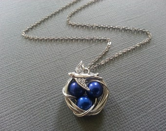 Royal Blue Fresh Watre Pearl Bird's Nest Necklace