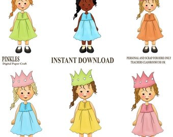 Party Clipart, Girl clipart, party hat Clipart, Instant download