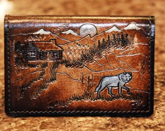 Leather Credit Card Case, Lone Wolf  walking past Cabin under the Full Moon, carry just a couple of cards or fill it up with 10 to 12
