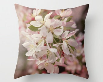 Decorative Throw Pillow Cover Apple Blossoms Floral Flower Pink Cherry White Shabby Chic Cottage Photo Case Home Feminine Bed Bedroom Decor
