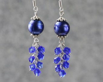 Royal blue chandelier earring – Etsy:Pearl royal blue chandelier earrings Bridesmaid gifts Free US Shipping  handmade Anni designs,Lighting